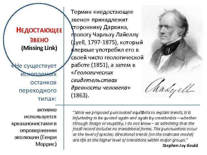 НЕДОСТАЮЩЕЕ ЗВЕНО (Missing Link) «Не существует ископаемых останков переходного типа» : активно используется креационистами