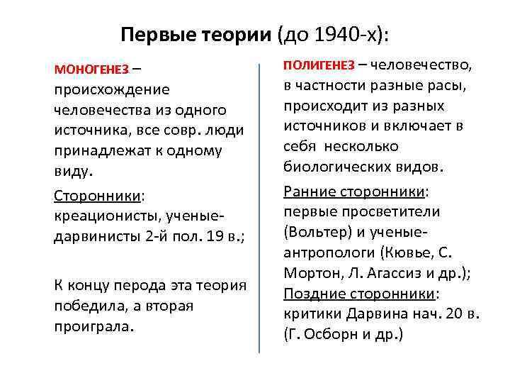 Первые теории (до 1940 -х): МОНОГЕНЕЗ – происхождение человечества из одного источника, все совр.