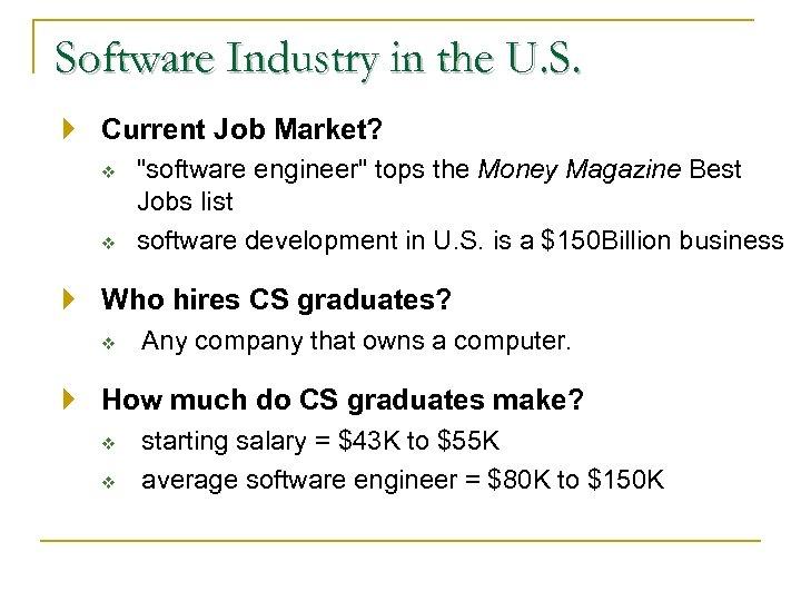 Software Industry in the U. S. Current Job Market? v v