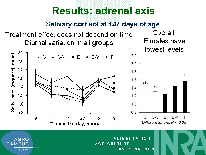 Results: adrenal axis Saliv. cort. (rsquare), ng/ml Salivary cortisol at 147 days of age