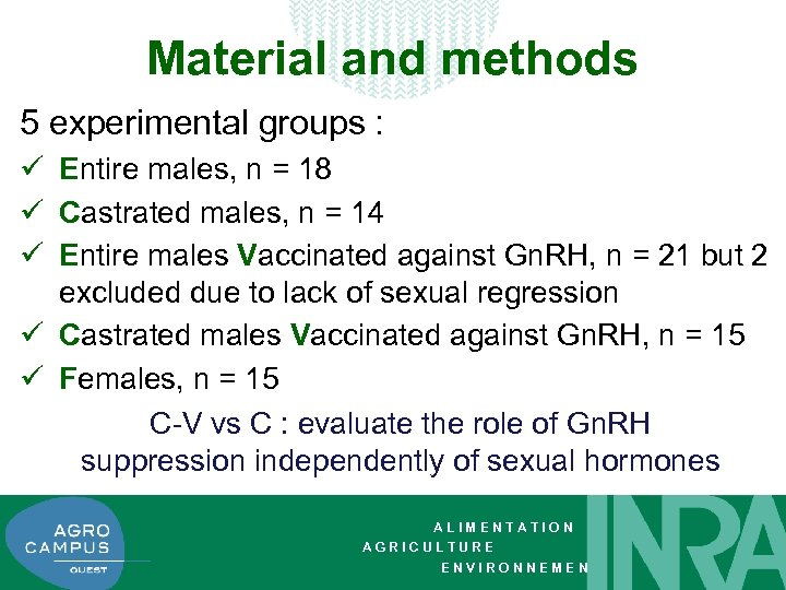 Material and methods 5 experimental groups : ü Entire males, n = 18 ü