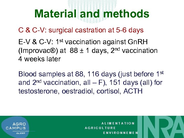 Material and methods C & C-V: surgical castration at 5 -6 days E-V &