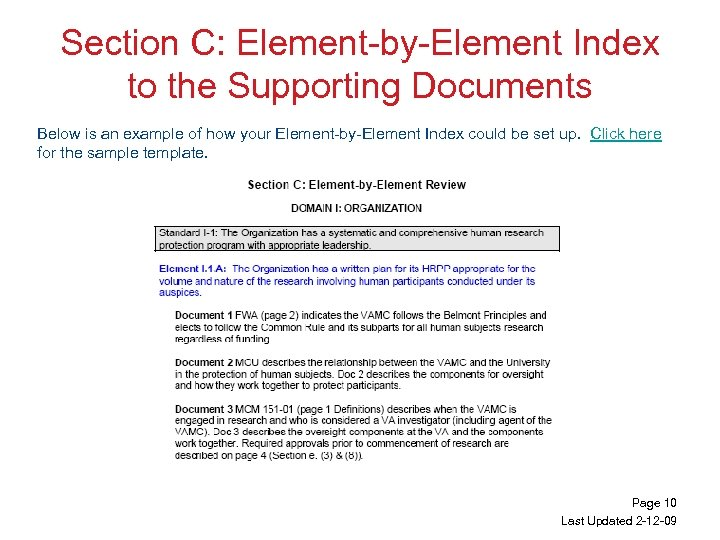 Section C: Element-by-Element Index to the Supporting Documents Below is an example of how