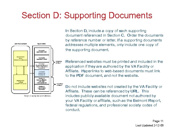 Section D: Supporting Documents In Section D, include a copy of each supporting document