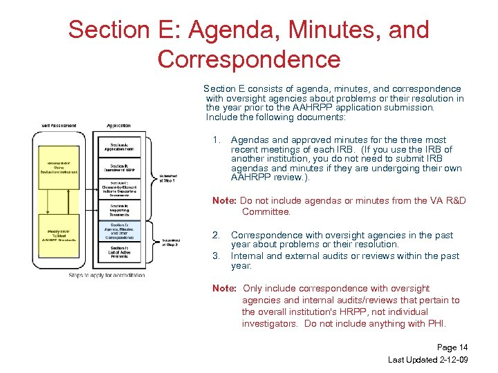 Section E: Agenda, Minutes, and Correspondence Section E consists of agenda, minutes, and correspondence
