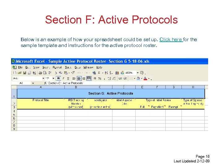 Section F: Active Protocols Below is an example of how your spreadsheet could be