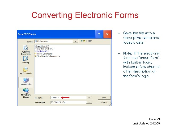 Converting Electronic Forms – Save the file with a descriptive name and today's date