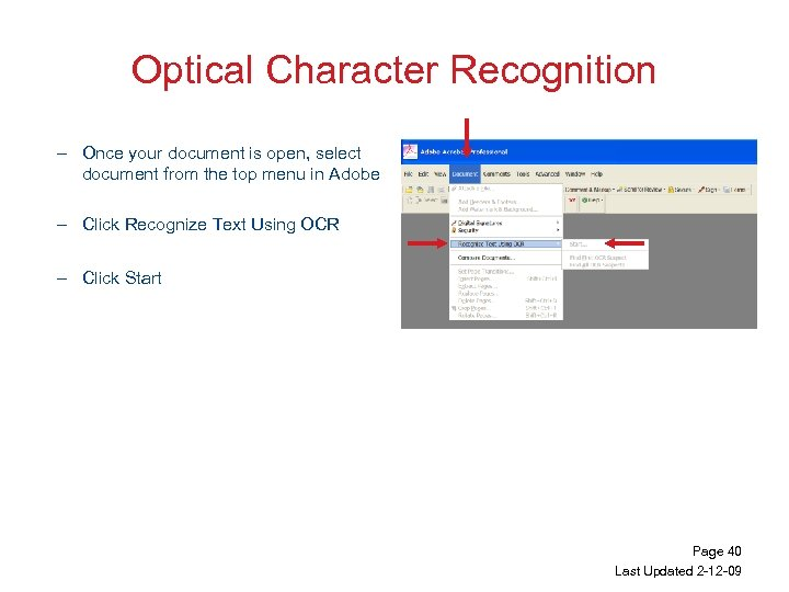 Optical Character Recognition – Once your document is open, select document from the top
