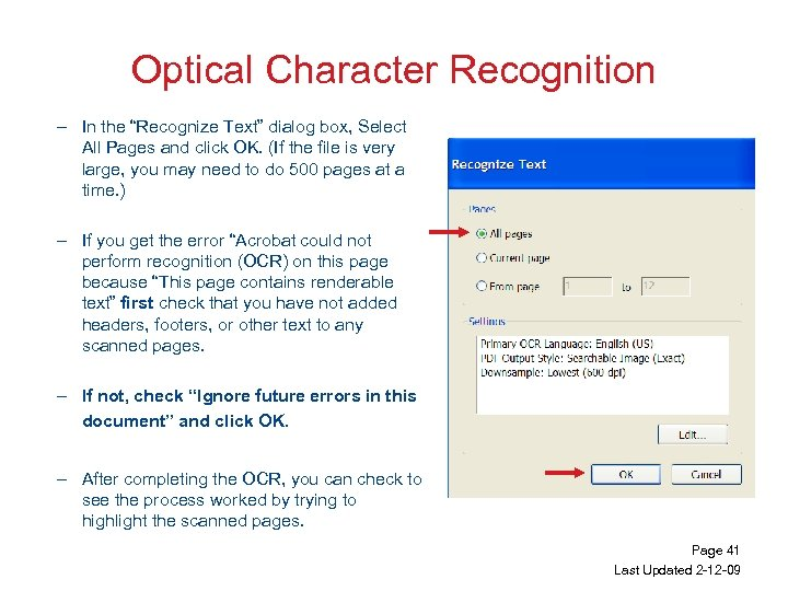 """Optical Character Recognition – In the """"Recognize Text"""" dialog box, Select All Pages and"""