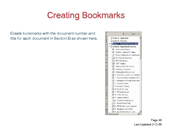 Creating Bookmarks Create bookmarks with the document number and title for each document in