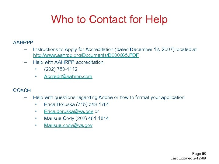 Who to Contact for Help AAHRPP – Instructions to Apply for Accreditation (dated December