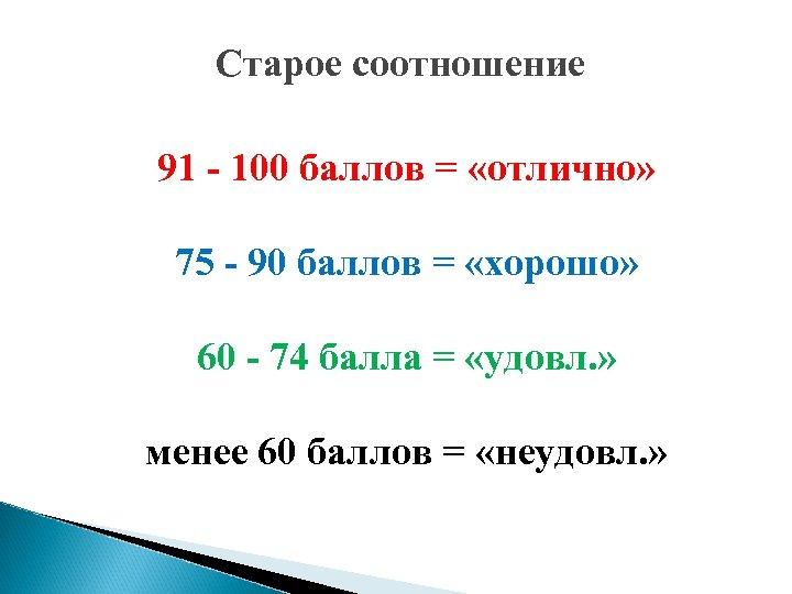 Старое соотношение 91 - 100 бaллoв = «отлично» 75 - 90 бaллoв = «хорошо»