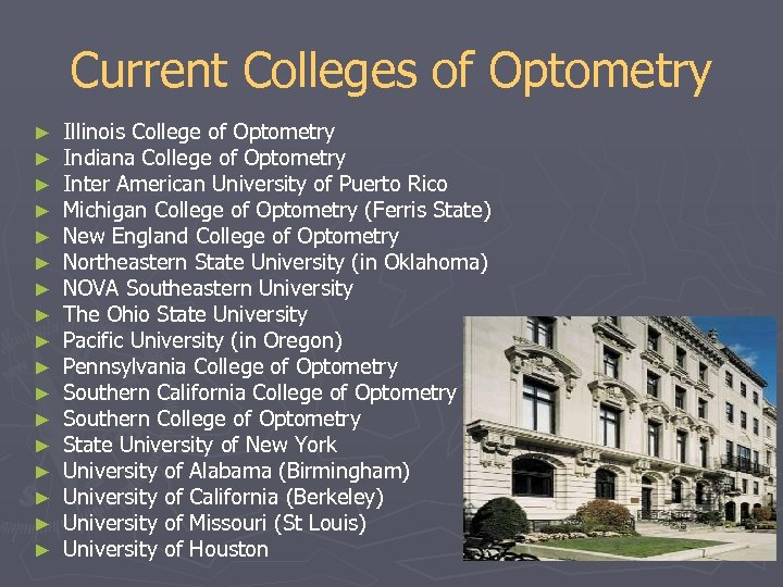 Current Colleges of Optometry ► ► ► ► ► Illinois College of Optometry Indiana