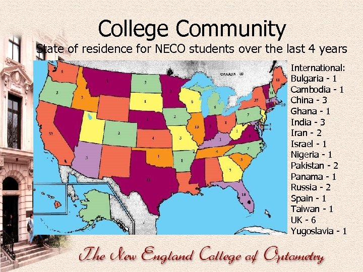 College Community State of residence for NECO students over the last 4 years International: