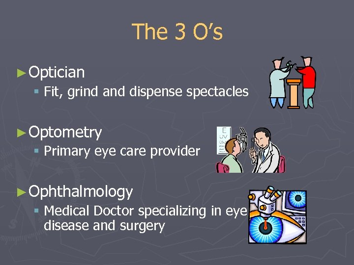 The 3 O's ► Optician § Fit, grind and dispense spectacles ► Optometry §