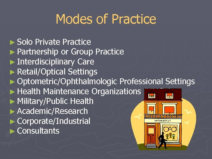 Modes of Practice ► Solo Private Practice ► Partnership or Group Practice ► Interdisciplinary