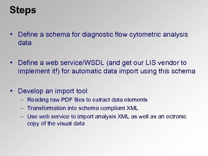 Steps • Define a schema for diagnostic flow cytometric analysis data • Define a