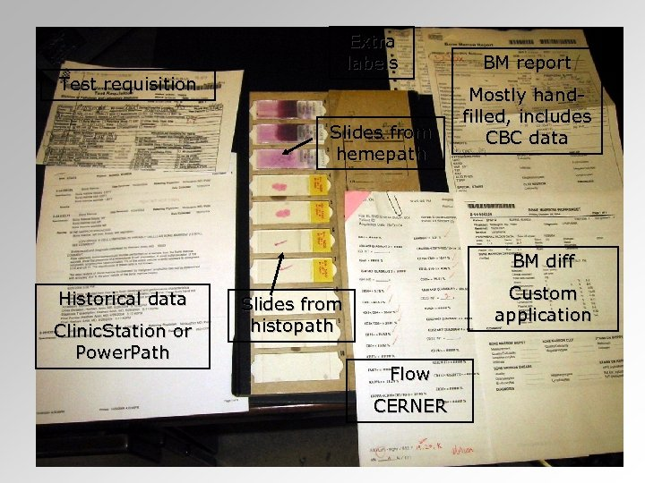 Extra labels Test requisition Slides from hemepath BM report Mostly handfilled, includes CBC data