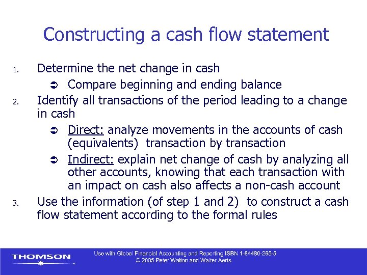 Constructing a cash flow statement 1. 2. 3. Determine the net change in cash