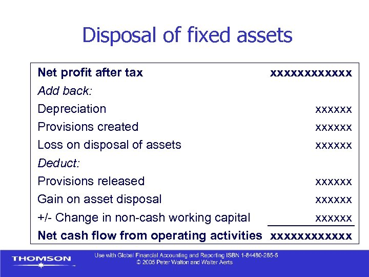 Disposal of fixed assets Net profit after tax xxxxxx Add back: Depreciation xxxxxx Provisions
