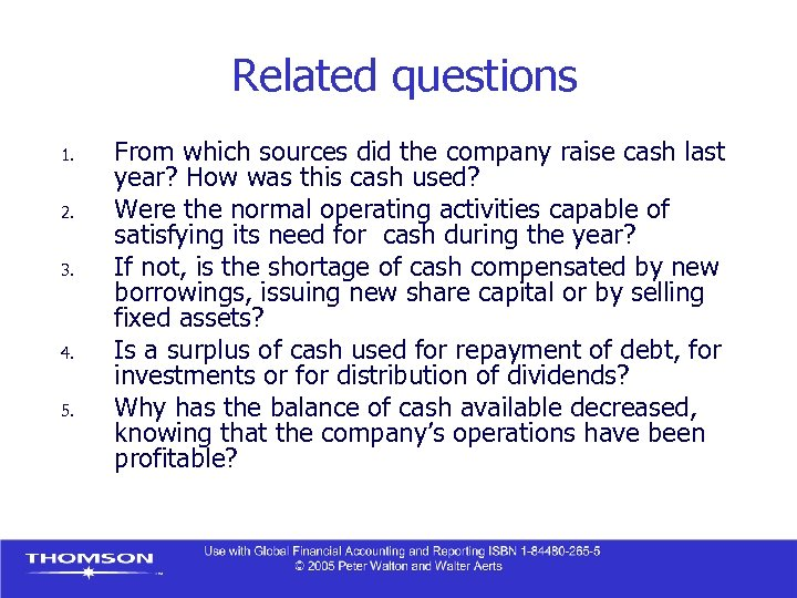 Related questions 1. 2. 3. 4. 5. From which sources did the company raise