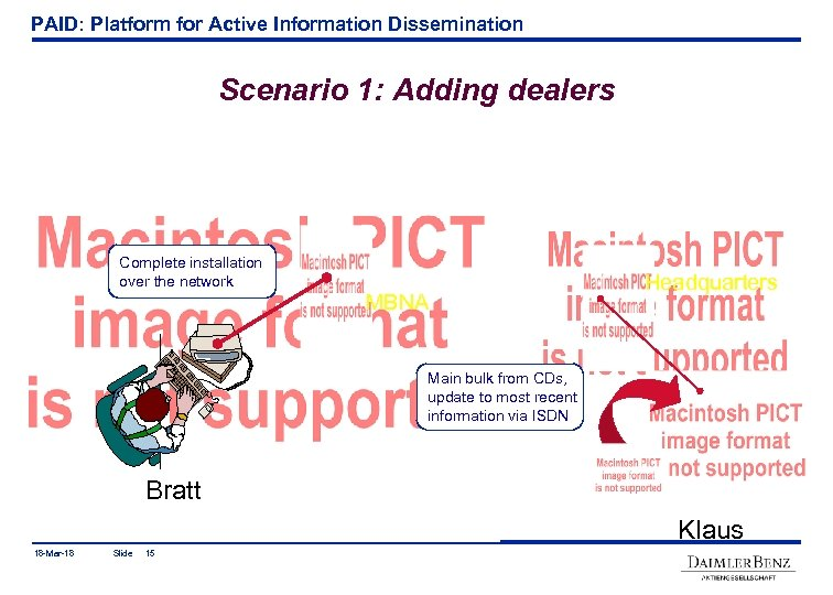 PAID: Platform for Active Information Dissemination Scenario 1: Adding dealers Complete installation over the