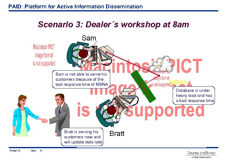 PAID: Platform for Active Information Dissemination Scenario 3: Dealer´s workshop at 8 am Sam