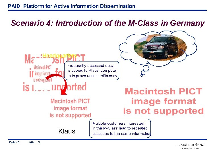 PAID: Platform for Active Information Dissemination Scenario 4: Introduction of the M-Class in Germany