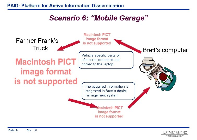 "PAID: Platform for Active Information Dissemination Scenario 6: ""Mobile Garage"" Farmer Frank's Truck Vehicle"