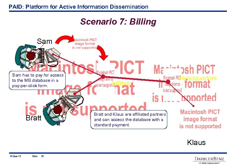 PAID: Platform for Active Information Dissemination Scenario 7: Billing Sam has to pay for