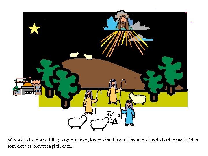 Så vendte hyrderne tilbage og priste og lovede Gud for alt, hvad de havde
