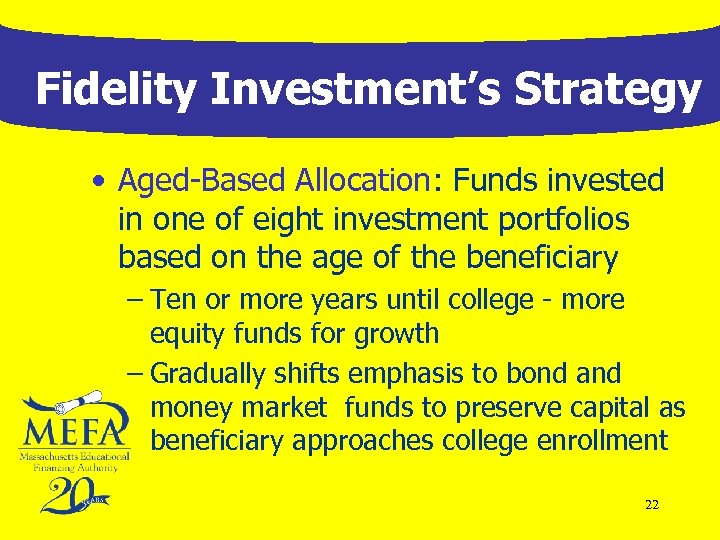 Fidelity Investment's Strategy • Aged-Based Allocation: Funds invested in one of eight investment portfolios