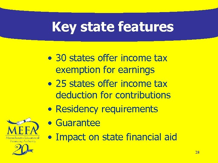 Key state features • 30 states offer income tax exemption for earnings • 25