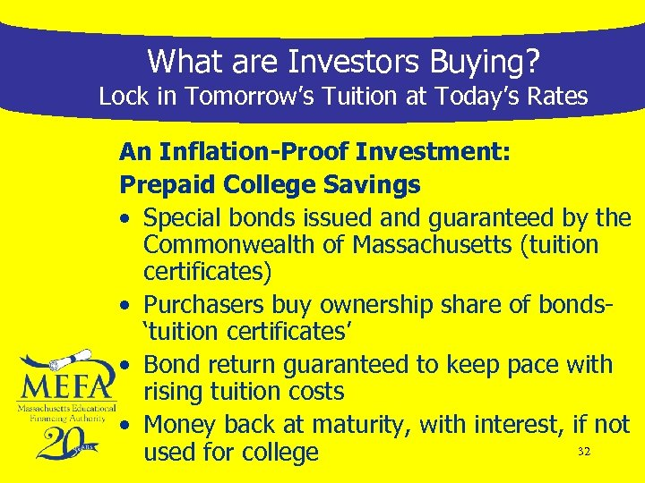 What are Investors Buying? Lock in Tomorrow's Tuition at Today's Rates An Inflation-Proof Investment: