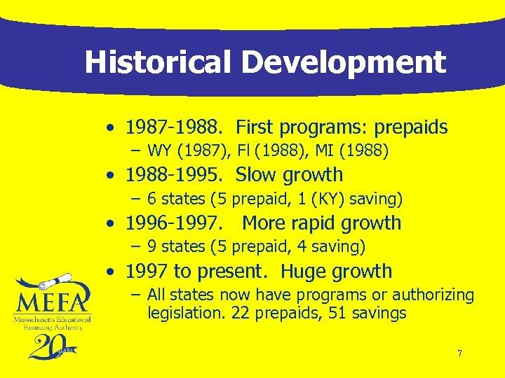 Historical Development • 1987 -1988. First programs: prepaids – WY (1987), Fl (1988), MI