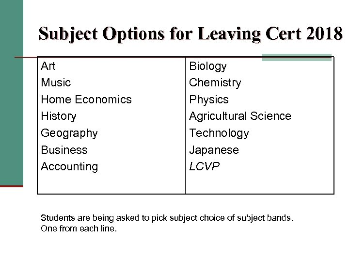 Subject Options for Leaving Cert 2018 Art Music Home Economics History Geography Business Accounting