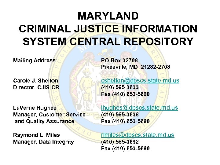 MARYLAND CRIMINAL JUSTICE INFORMATION SYSTEM CENTRAL REPOSITORY Mailing Address: PO Box 32708 Pikesville, MD
