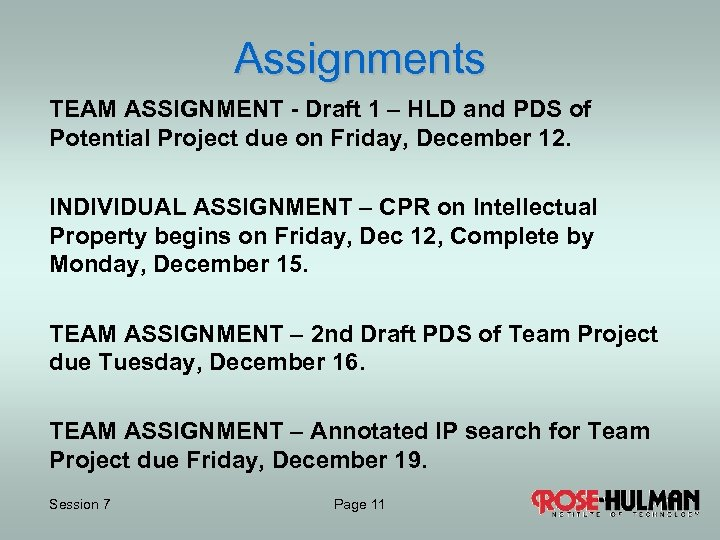Assignments TEAM ASSIGNMENT - Draft 1 – HLD and PDS of Potential Project due