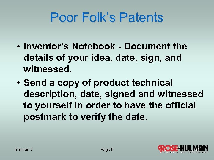 Poor Folk's Patents • Inventor's Notebook - Document the details of your idea, date,