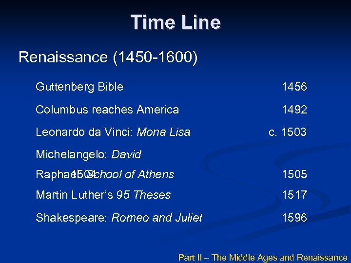 Time Line Renaissance (1450 -1600) Guttenberg Bible 1456 Columbus reaches America 1492 Leonardo da