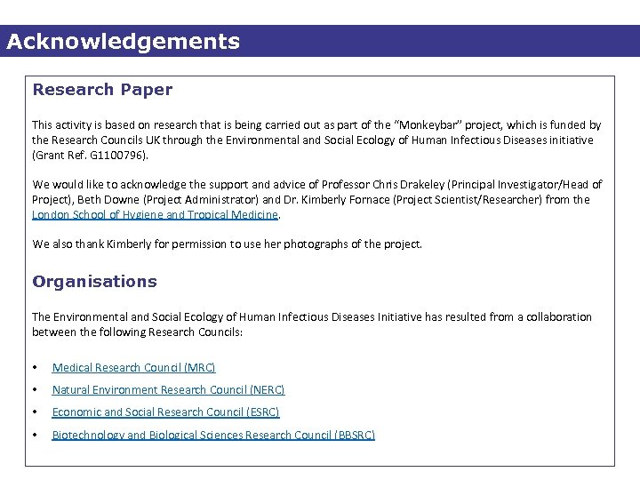 Acknowledgements Research Paper This activity is based on research that is being carried out