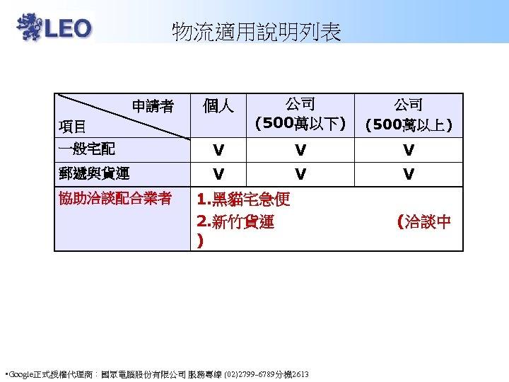 物流適用說明列表 個人 申請者 項目 公司 (500萬以下) 公司 (500萬以上) 一般宅配 V V V 郵遞與貨運 V
