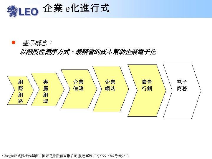 企業 e化進行式 l 產品概念: 以階段性循序方式、最精省的成本幫助企業電子化 網 際 網 路 專 屬 網 域 企業