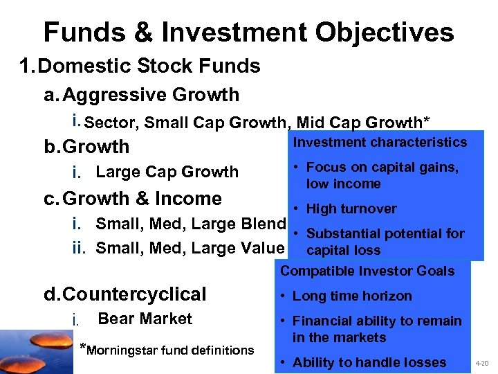 Funds & Investment Objectives 1. Domestic Stock Funds a. Aggressive Growth i. Sector, Small