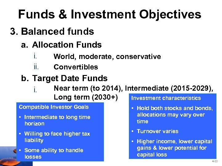 Funds & Investment Objectives 3. Balanced funds a. Allocation Funds i. ii. World, moderate,