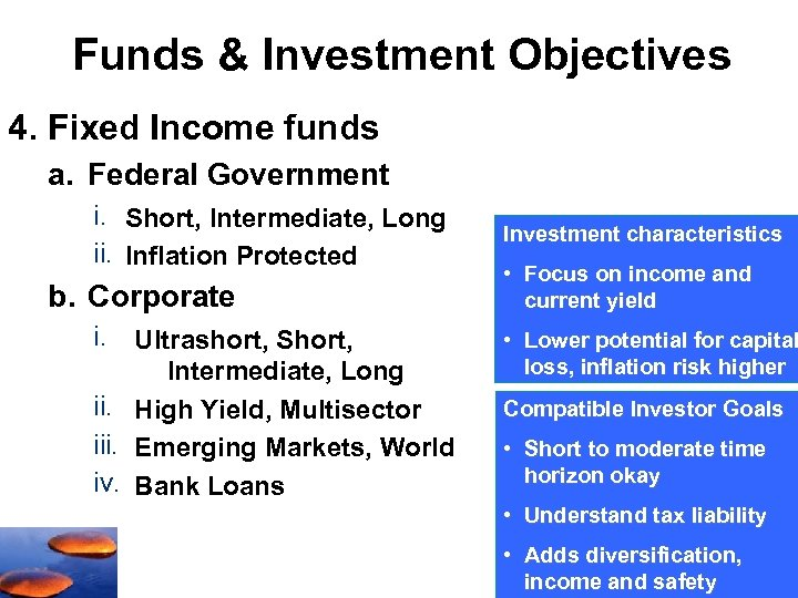 Funds & Investment Objectives 4. Fixed Income funds a. Federal Government i. Short, Intermediate,