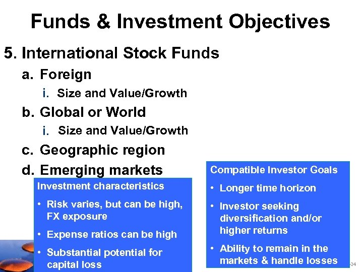 Funds & Investment Objectives 5. International Stock Funds a. Foreign i. Size and Value/Growth
