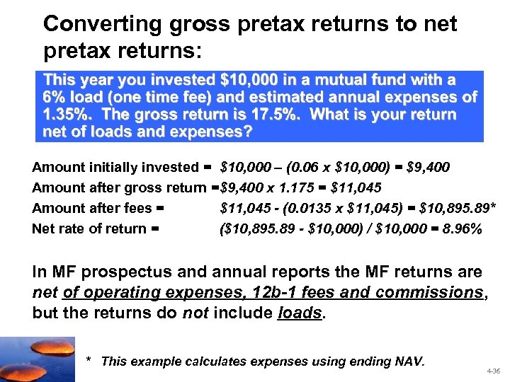 Converting gross pretax returns to net pretax returns: Amount initially invested = $10, 000
