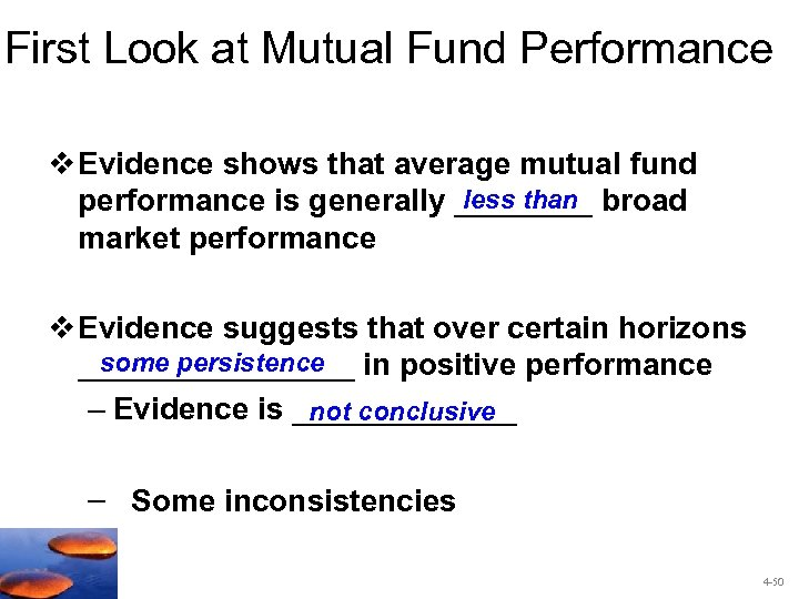 First Look at Mutual Fund Performance v Evidence shows that average mutual fund less