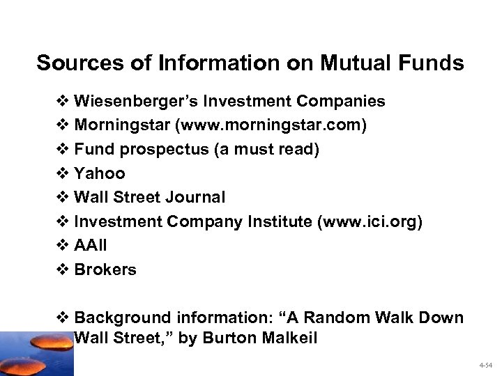 Sources of Information on Mutual Funds v Wiesenberger's Investment Companies v Morningstar (www. morningstar.